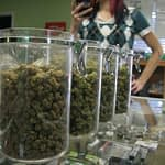 cannabis jars on counter