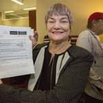 Jewel Mathieson shows her delivery permit